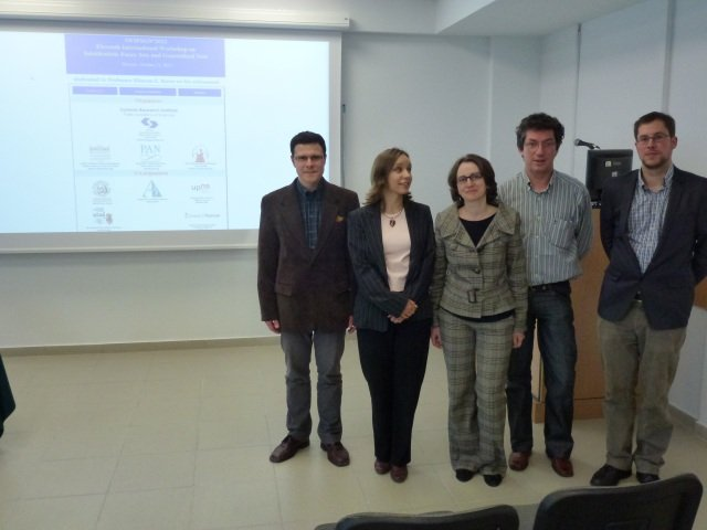 Three of our PhD students and our Belgian partners (to the right)